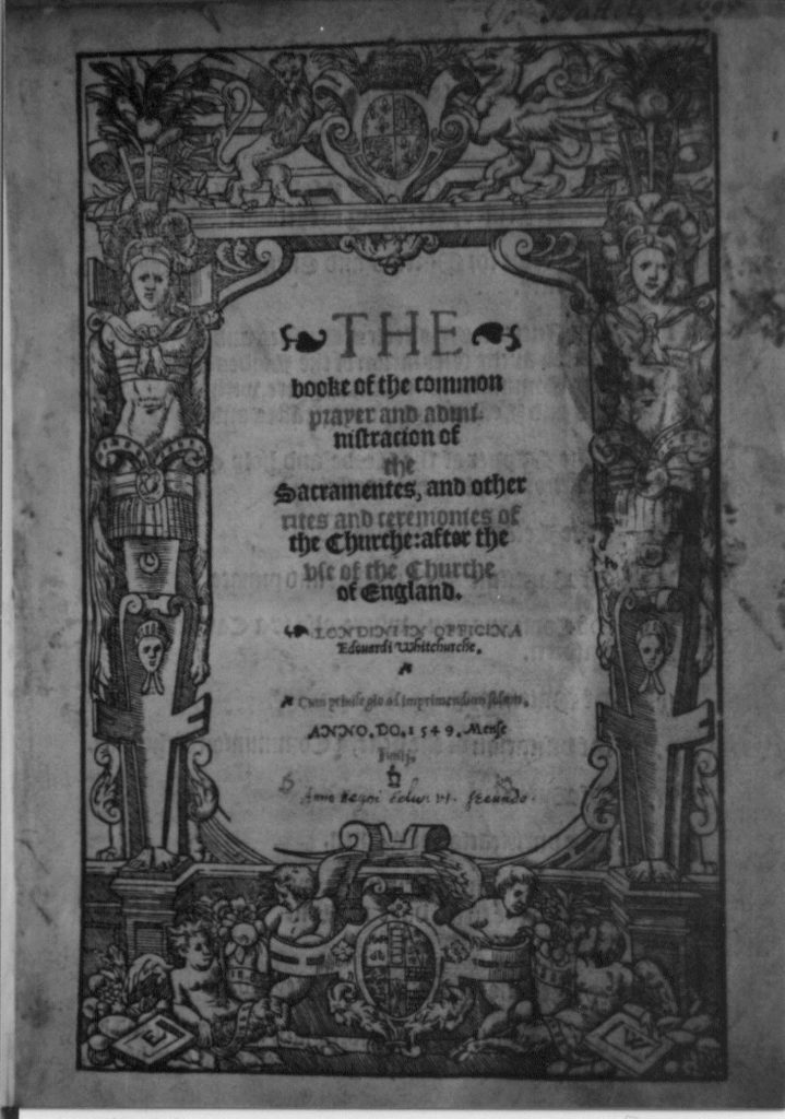 The first page of the book of common prayer.