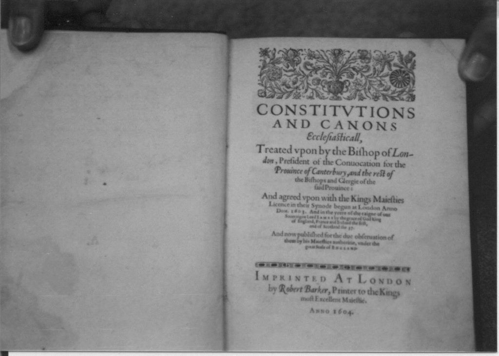 The first page of Constitutions and canons 1604.