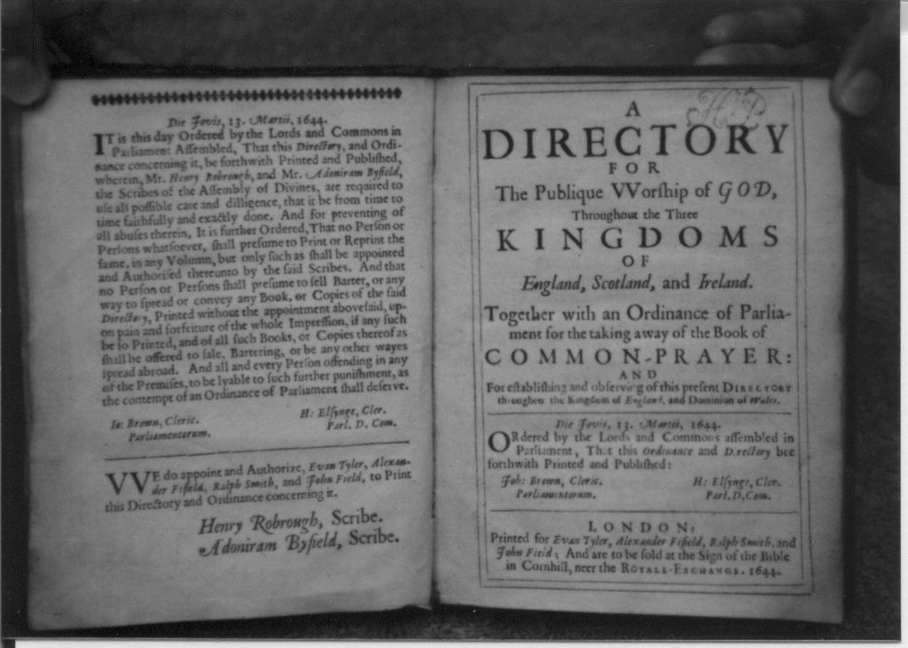 Two pages of Directory for the Publique Worship of God, 1644.