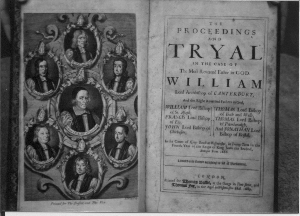 The first two pages of The Proceedings of the Tryal of the Seven Bishops,