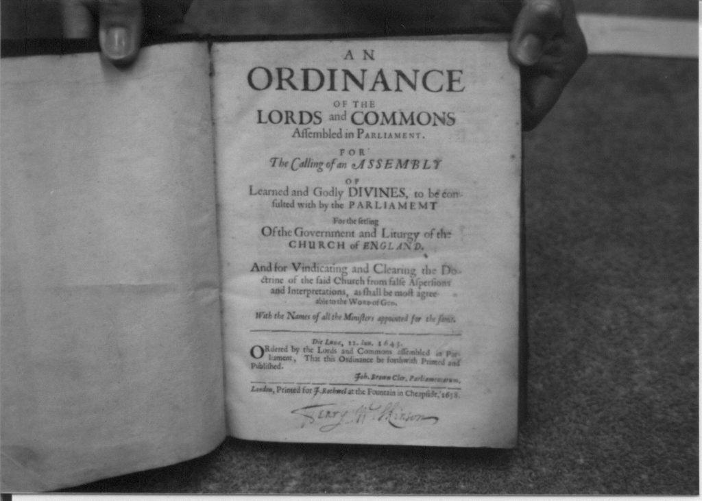 The first page of an ordinance of the lords and commons.