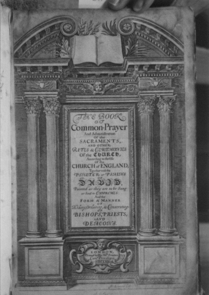 The first page of the book of common prayer 1662 large format.