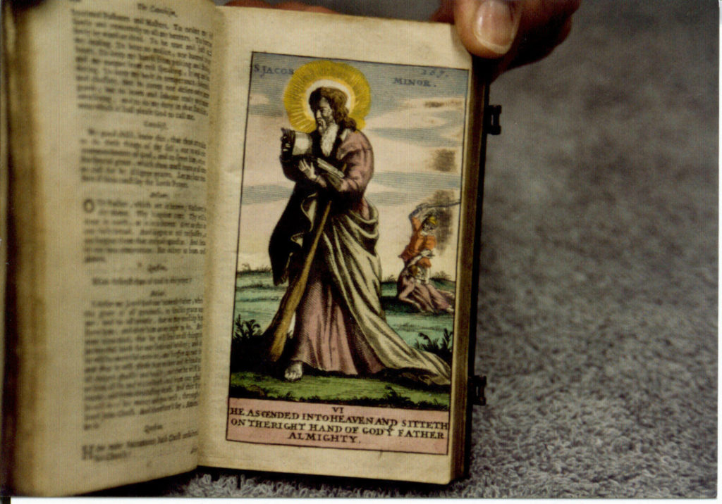 A hand colored illustration of jesus in the book of common prayer 1677.