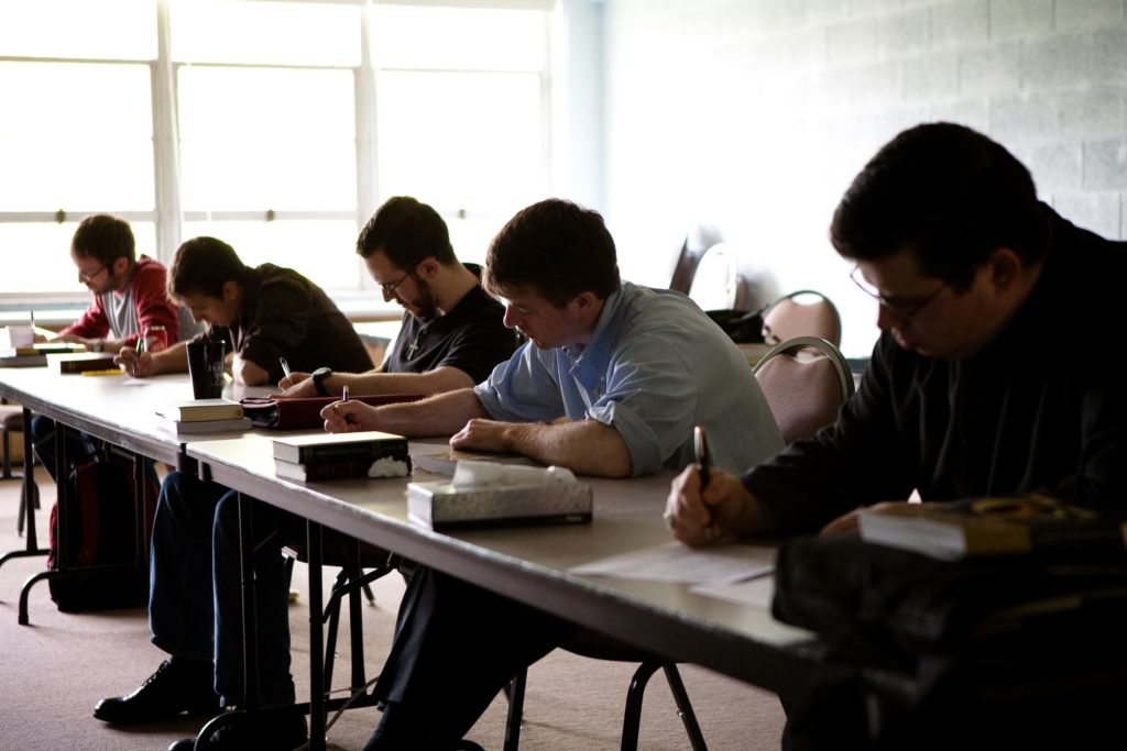 Students doing classwork.