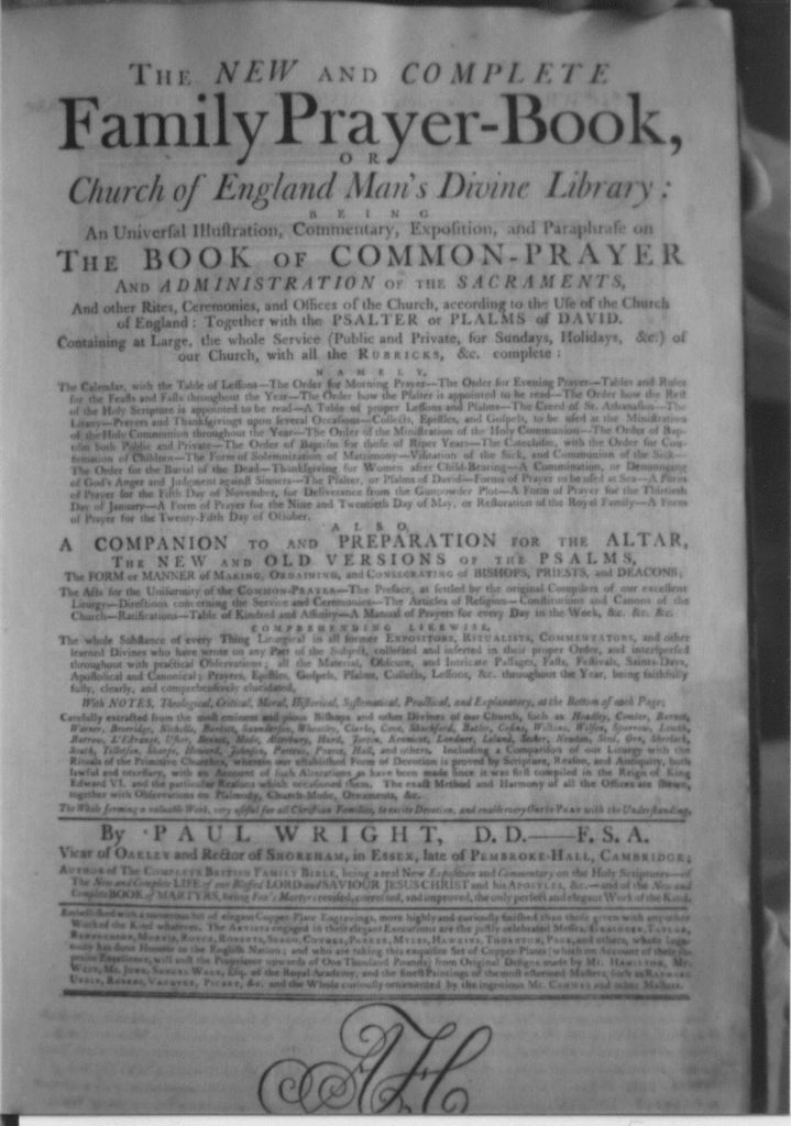 The first page of the new and complete family prayer book 1784.