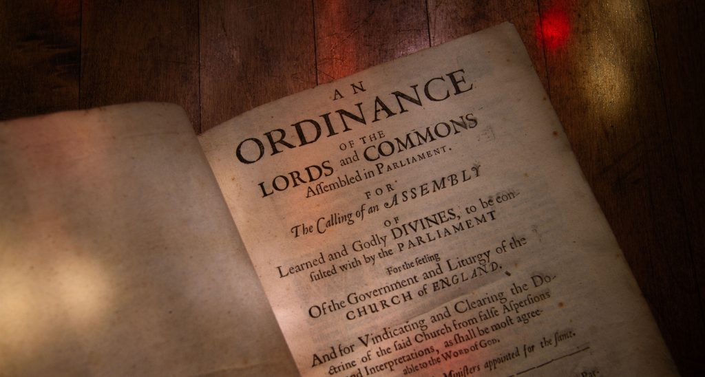 Westminster Confessions of Faith. London, 1658. Ordinannce of the Lords and Commons.